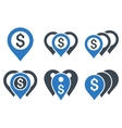Money Map Markers Flat Icons vector image vector image