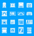 oven stove fireplace icons set simple style vector image vector image