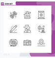 pack 9 modern outlines signs and symbols vector image vector image