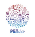 pet store or shop round banner vector image vector image