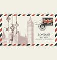 postcard or envelope with big ben in london vector image vector image