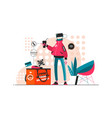 robot delivery service vector image vector image