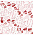 seamless pattern with doodle wavy hearts vector image