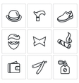 Set of Gentleman Icons Bowler Cane Shoes vector image