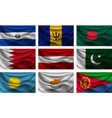 set wave country flag with shadows vector image vector image