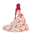 Silhouette of a girl in a dress vector image