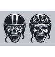 Skull biker in helmet and glasses vector image