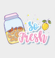 so fresh summer juice cartoon vector image vector image