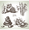 Spa sketch icon set vector image