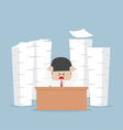 Tired and busy businessman with piles of work vector image