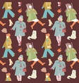 woman autumn retro fashion seamless pattern vector image