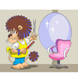 Lion is the hairdresser and stylist vector image