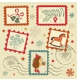 Retro christmas stamps vector image