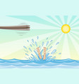jump from a springboard into the water vector image