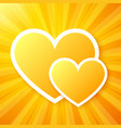 Yellow paper hearts on shining background vector image