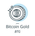 bitcoin gold cryptocurrency coin line icon of vector image