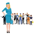 blonde woman stewardess in blue uniform vector image