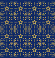 blue pattern background with golden glittering vector image vector image