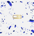 celebration background with confetti blue vector image vector image