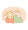 children friendship happiness concept vector image