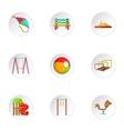 Children swing icons set cartoon style vector image vector image