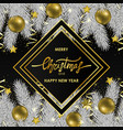 christmas and new year card with geometric frame vector image vector image