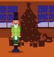 christmas nutcracker and tree gifts in the home vector image