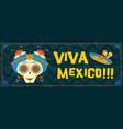 cinco de mayo mexican sugar skull web banner art vector image vector image