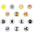 crypto currensy coins icon set vector image