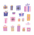 cute big collection cartoon gift box with hand vector image
