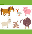 cute farm animal characters set vector image vector image