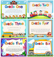 Diploma templates for primary school vector image vector image