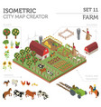 flat 3d isometric farm land and city map vector image vector image