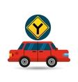 fork road sign sedan red vector image