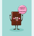 funny chocolate bar character with insparation vector image