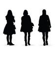 girl figure silhouette set on white vector image vector image
