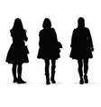 girl figure silhouette set on white vector image vector image