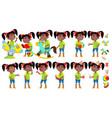 girl kindergarten kid poses set black vector image vector image