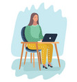 girl sitting in front laptop and cry vector image vector image