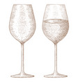 glass of wine hand drawn sketch vector image vector image