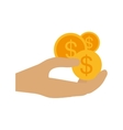 hand human with coins dollar isolated icon vector image vector image