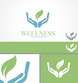 Hands Leaf Green Wellness Health Logo template vector image vector image