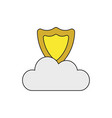 icon concept shield on cloud vector image