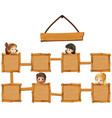 kids and wooden boards vector image vector image