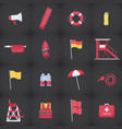 lifeguard equipment kit flat icons set vector image vector image