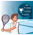 man playing tennis character vector image