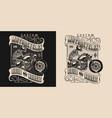 motorcycle vintage elegant print vector image vector image