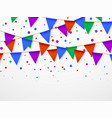 party flag garland with confetti kids birthday vector image vector image