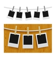 Photo frames with pins on rope vector image vector image