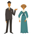 retro fashion 1910s man in suit and hat woman vector image vector image